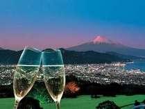 夕景とグラス