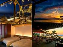 coral beach hotel スカイテラス、客室露天風呂、市街地側ツイン、篤姫テラス(1F)