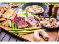 【料理アップグレードM】赤崎牛もも肉付きBBQ 4名様分