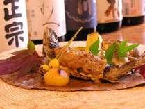 秋の味覚 岩魚の朴葉味噌焼き】朴葉の香り・味噌と岩魚の香ばしさ焼きたて熱々をご堪能ください