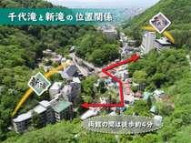 【湯めぐり】姉妹館・千代滝との湯めぐりが楽しめます。両館の距離は徒歩約4分です。