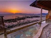 絶景!露天風呂・潟見の湯からの夕日の眺めは最高♪
