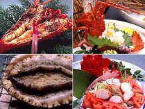 【選べるお料理一例】伊勢海老(鬼ガラ焼き・ボイル・お造り)・鮑の踊り焼き