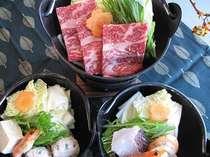 ☆「和牛すきやき鍋」「小ふぐ鍋」「ぼたん鍋」「海鮮鍋」からお好きな鍋が選べます☆