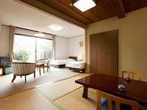 九重のシンボル三俣山を望む1階和洋室☆大浴場に近く温泉入浴にとても便利です♪