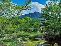 新緑の男体山・湯川
