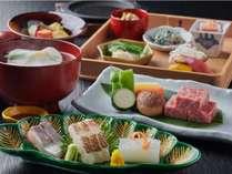 和牛ステーキ付き旬菜会席(一例)