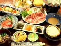 ご当地ブランド【上州もち豚】と新鮮な地産食材をお腹いっぱい楽しむスタンダードプランのお料理一例。