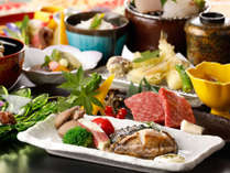 人気1番♪「蝦夷アワビステーキ&神戸牛鉄板焼」のメインセットがうれしい♪女将厳選スペシャル四季会席~