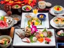 2018秋お造り(7種)にグレードアップ選べる草千里会席料理,熊本県,かんぽの宿阿蘇