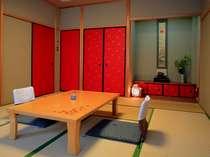 京唐紙が印象的な新館のお部屋※新館は庭園に面していません。
