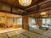 創業当時より在る小川治兵衛の庭園に面した露天風呂付特別室【松】