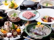 巧みの技が光る、地元の食材を使った月替りの会席料理(夕食一例)