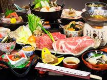 秋田錦牛と八幡平ポークのしゃぶしゃぶ付き会席膳でおもてなし。