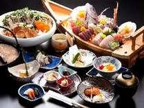 あんこうを心ゆくまで食べ尽くす《あんこう贅沢プラン》※写真の舟盛と鍋具は5人盛です。