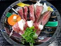 【二食付】馬刺し付! 夕食ステーキセット プラン  専用家族湯でごゆっくり
