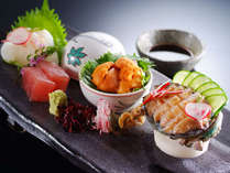 鯛、鮪、鮑、雲丹など お造りは旬魚の盛り合わせをお楽しみ頂きます