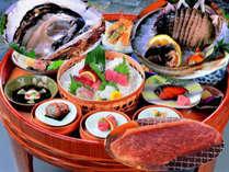 あわび半丁・夏牡蠣・松阪牛が付いた豪華グルメの競演(お料理の写真はイメージです)