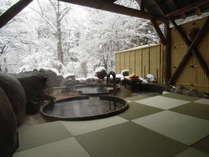 畳敷き露天風呂冬の様子