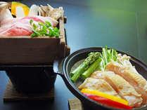 *【せいろ蒸し・陶板焼き】白河高原清流豚のせいろ蒸しと、会津地鶏の陶板焼き