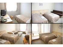 左上:シングル/右上:ツイン/左下:5人洋室/右下:5人和洋室