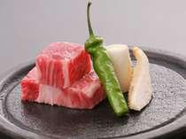 信州牛の温石焼き