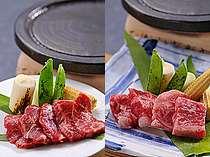 選べる布半名物「温石焼」。信州特選和牛かトロ桜肉をチョイス