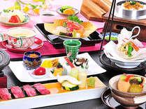 メイン料理は、信州特選牛の温石焼or鯛しゃぶをチョイスOK