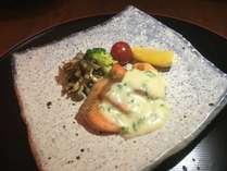夕食一例 銀光ムニエルクリームソース仕立て