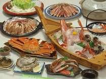 舟盛付かにフルコース・・・カニすき・焼きガニ・カニ刺し・茹でガニ・かに天ぷら・カニみそ甲羅焼きなど