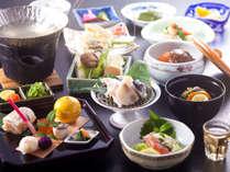 【限定チョイス会席】メインのお鍋を3種類からお選びいただける冬季期間限定のプラン(写真は河豚鍋)