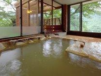 2種類の源泉が愉しめる大浴場♪白濁色の炭酸水素塩泉は別名「美肌の湯」と呼ばれ、お肌がツルツルに