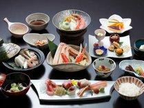 【活かに会席(料理例)】冬の味覚★本ずわい蟹を「かに刺」「ゆで蟹」「かに鍋」で堪能♪