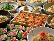 【新館1階ふじた】和食ブッフェ一例 】自然光の中で味わう和惣菜中心のブッフェ