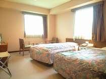 ツインルームは2名様には十分なゆったりサイズ。ベッド幅は120cmのセミダブルタイプです。