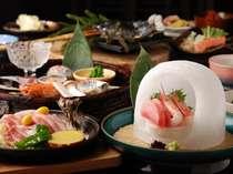 【夕食】「お子様にも大うけ!」将軍・太閤・関白会席の お刺身はカマクラで提供