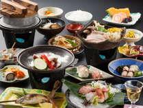 将軍会席は氷鉢のお刺身と魚沼産コシヒカリの釜炊きが人気