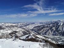 【湯沢高原スキー場:山頂からの風景】晴れた日の眺めは最高の一言!