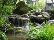 ■館内中庭には小川が流れ、せせらぎを奏でを聴きながらゆっくり