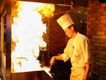 中華職人の繰り出す火柱は圧巻!