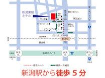 [周辺詳細地図] JR新潟駅(万代口)徒歩5分、観光出張の拠点として最適!コンビニ徒歩1分。