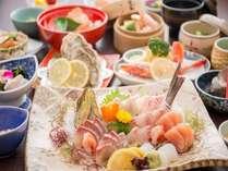 【夕食/活き造り祭りプラン】地元橘湾産の獲れたて魚介を活き造りでどうぞ!/一例