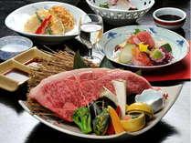 四季折々の食材を使った季節の会席料理と万葉牛のステーキをセットしてご用意!
