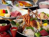 料理長渾身の極上会席。伊勢海老にあわび、佐賀牛A5ランクなどの特選素材をご賞味ください。