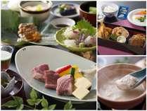 大人の夕食は和牛と若楠ポークがWで味わえる会席料理、お子様はお子様ランチ。温泉湯豆腐は大人の朝食で。