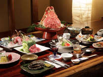 【あかねの詩会席】、2名様例。高足ガニ・伊勢エビ・アワビ・牛しゃぶ(お料理は季節により変わります)
