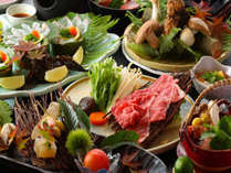 【秋の味覚全10品】旬のお魚+長崎和牛すき焼+きのこ盛合せ