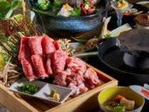 【竹膳】一例・阿蘇野菜と肥後牛溶岩鍋しゃぶ&りんどうポ-ク