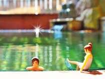 ひと晩中入れる掛け流し温泉 コップのフチ子温泉イメージ