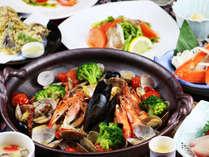 シメはチーズリゾットで♪【アクアパッツァ】か【鴨鍋】を選べるあったかプランでお楽しみ頂けます。